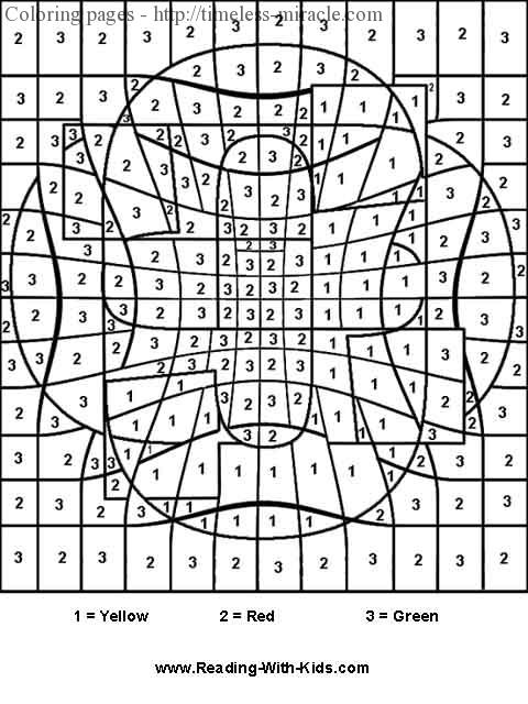 Free color by number coloring page
