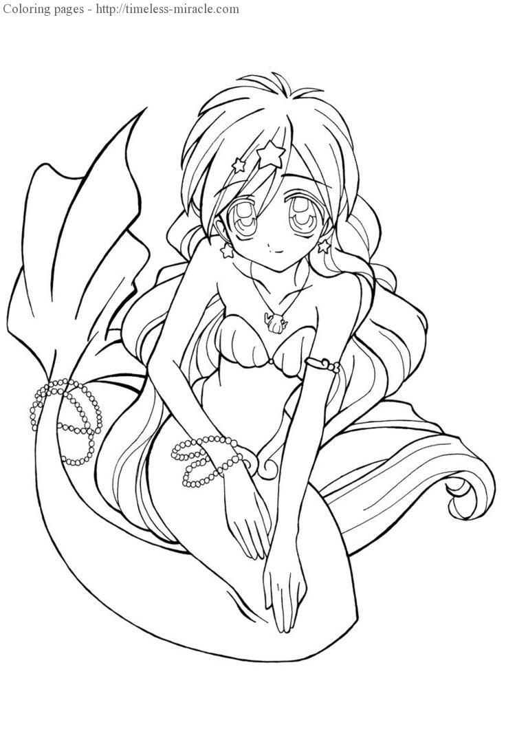 Anime Mermaid Coloring Pages Timeless Miracle Com