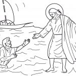 Peter walks on water coloring page
