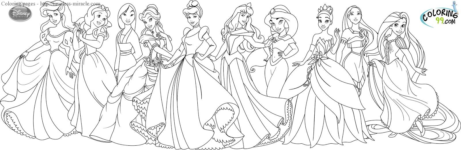 - All Disney Princesses Coloring Page - Timeless-miracle.com