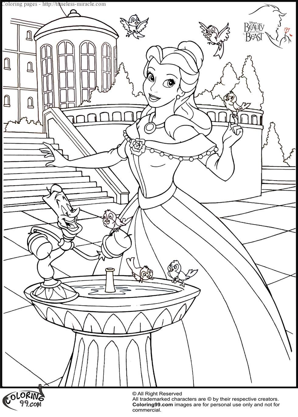 Disney Princess Belle Coloring Pages for preschool #5231 Belle ... | 1372x980