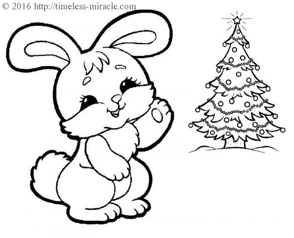 Bunny coloring page Christmas For kids  coloring page free (printables)