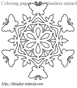 butterfly snowflake coloring page