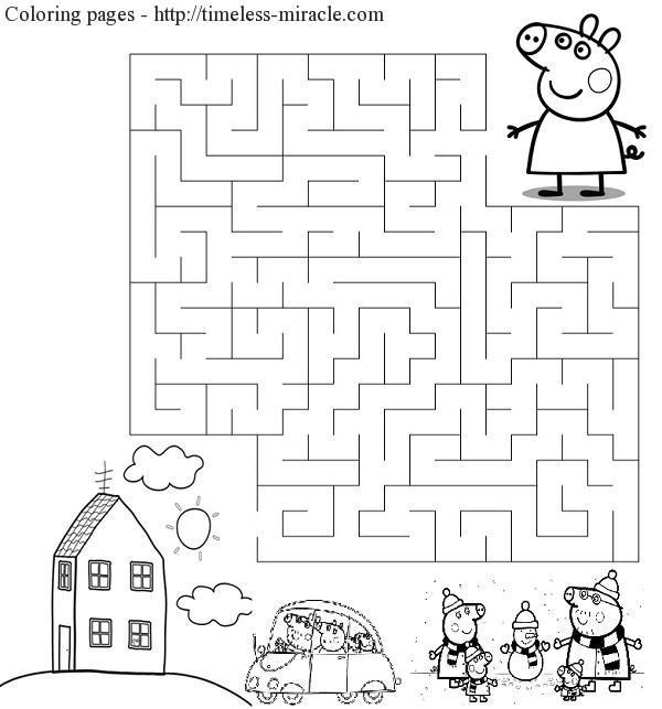 Сoloring page peppa labyrinth