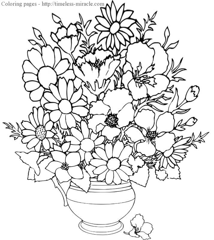 hard flower coloring pages Flower  coloring page free (printables)