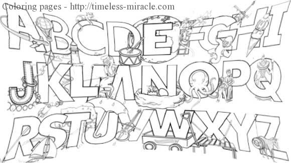 Alphabet coloring pictures