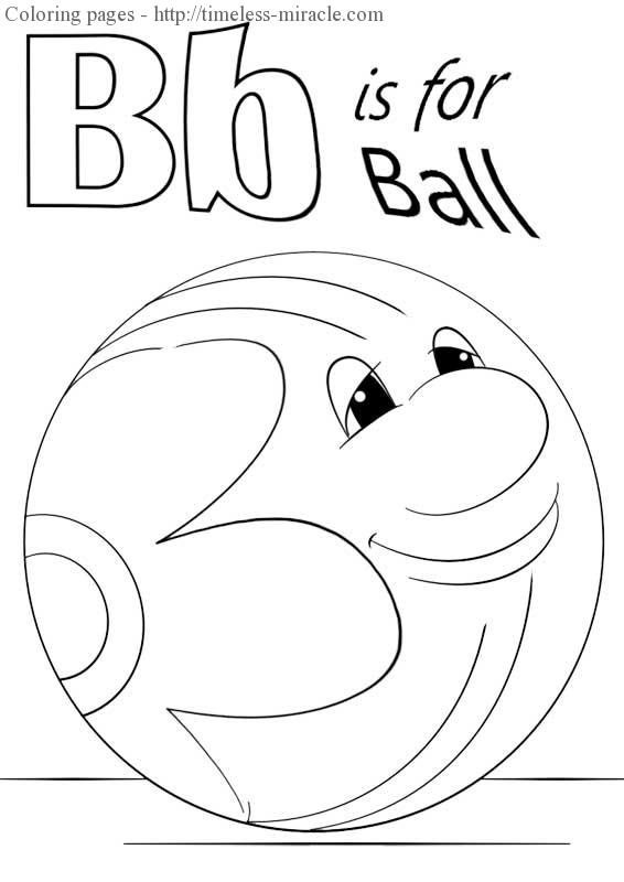b is for ball coloring page Alphabet  coloring page free (printables)