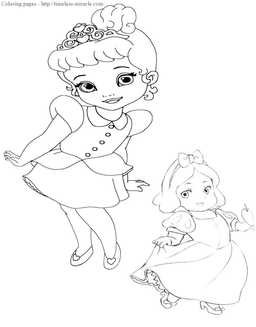 Baby disney princesses coloring page