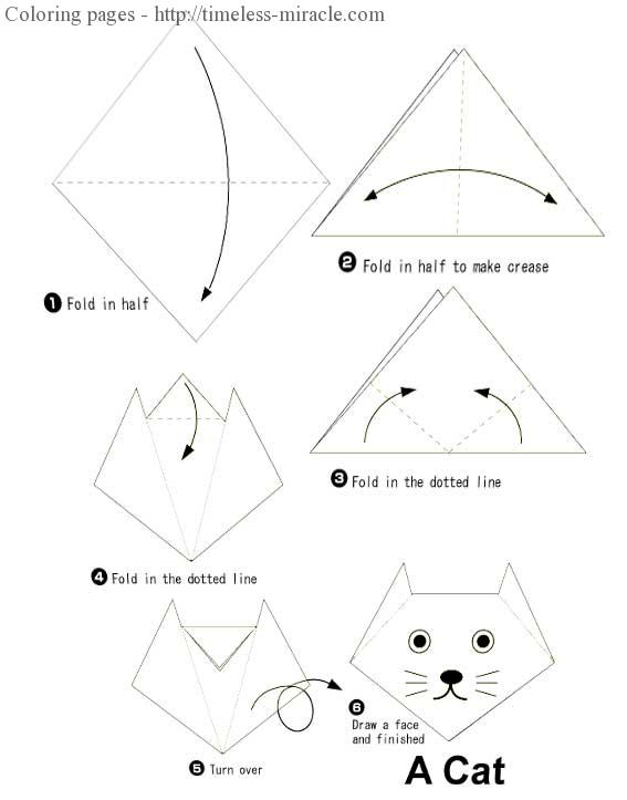 origami cat for kids